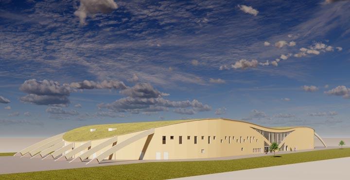 Visionsbild för arenan i Kviberg i trä med grästak.