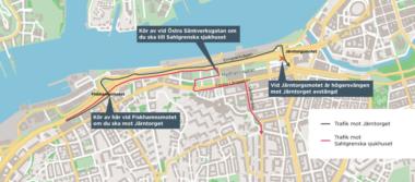 Trafikuppdatering Masthuggskajen - Biltrafik mot Järntorget leds om från Fiskhamnsmotet