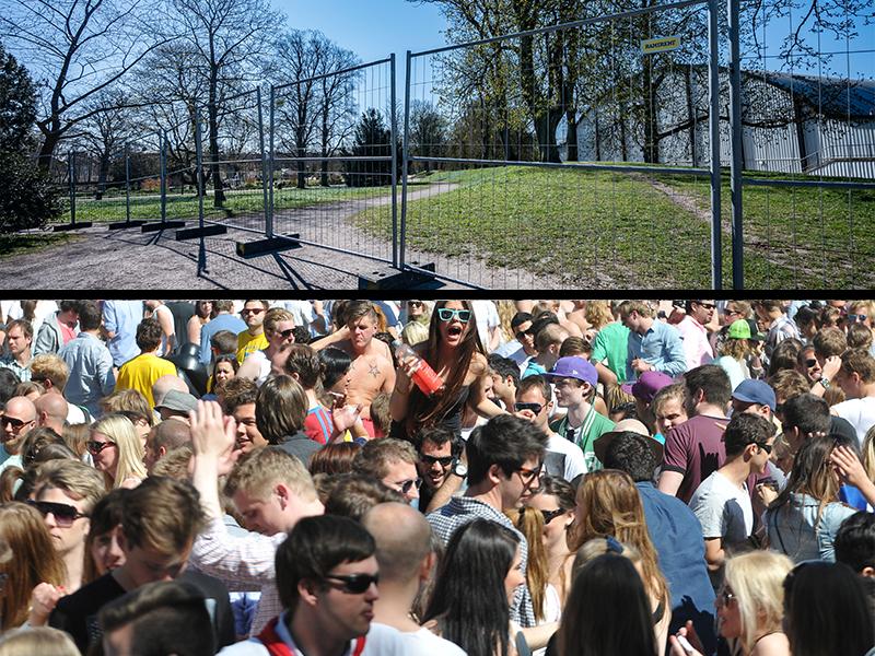 Bildmontage med en park fylld med festande människor och en park som är avstängd för allmänheten